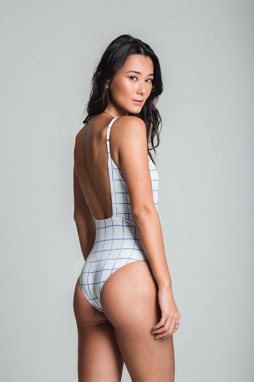 Checkered Transpasse Bathing Suit