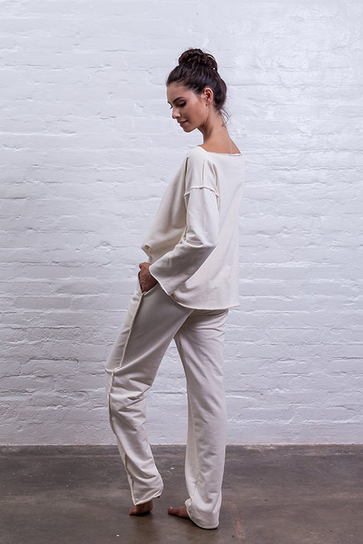 sweatpants beige mudha cotton sustainable comfy back