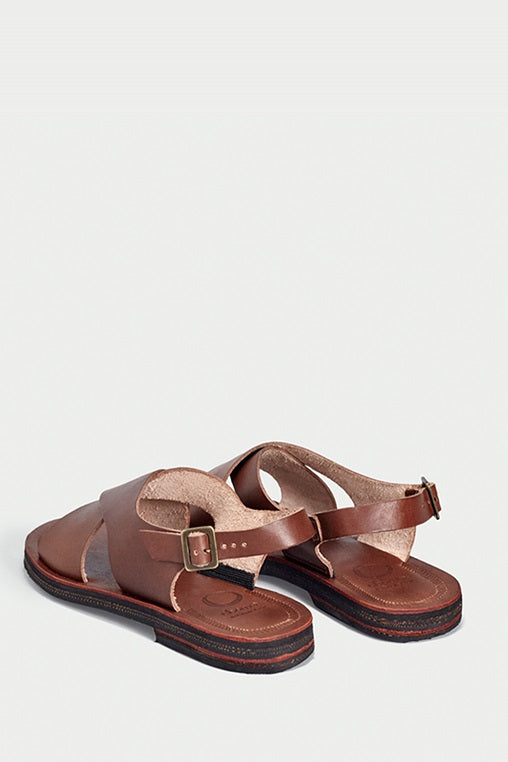 sandals fauna caboclo leather sustainable brown cross back