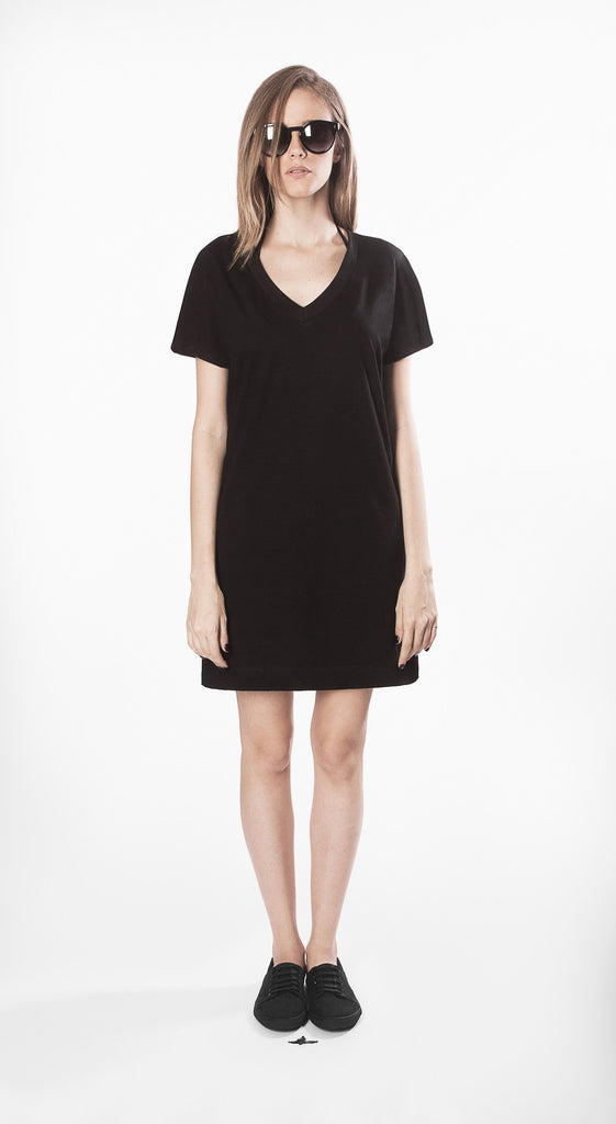 trapeze dress black short cotton organic ecological movin sustainable