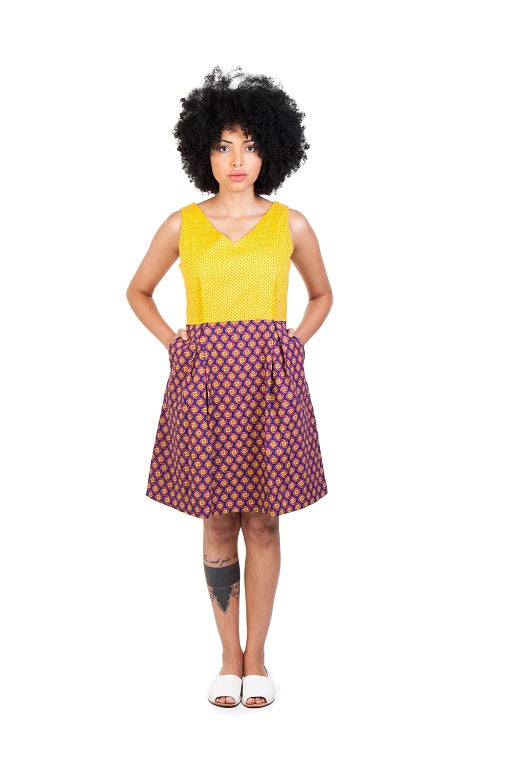 martie dress shwe cotton sustainable yellow brown front