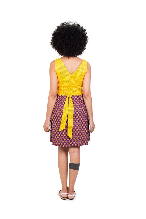 martie dress shwe cotton sustainable yellow brown back