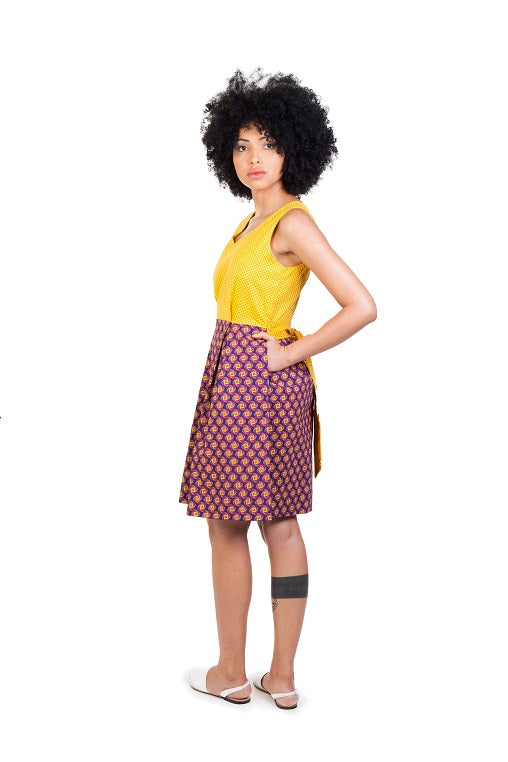 martie dress shwe cotton sustainable yellow brown side