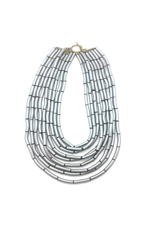 plastic tubes necklace silvery sustainable upcycled zoia