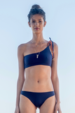 Martha bikini one shoulder double face navy and caramel marju biodegradable fabric