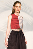upcycled crop top colors red white envido sustainable viscose bi color
