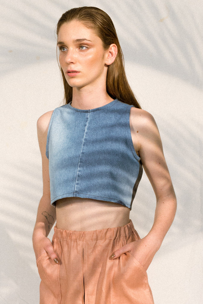 upcycled crop top blue denim envido sustainable viscose bi color