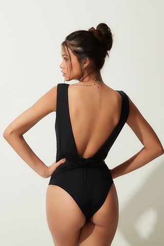 bodysuit black back cutout lille beachwear fauna sustainable biodegradable back