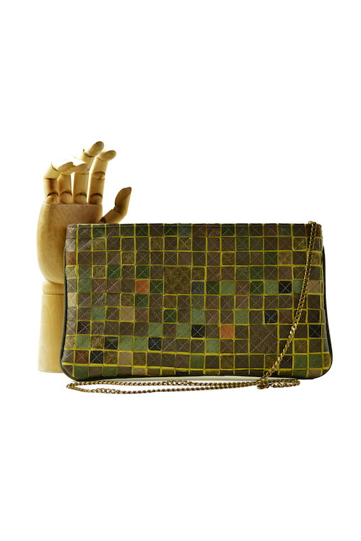 mosaic bag oazô oazo wallet on chain upcycled green leather
