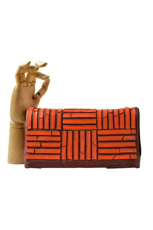 orange stripes clutch brown flip oazo leather sustainable upcycled