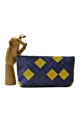 sunflower clutch oazo yellow blue sustainable leather back