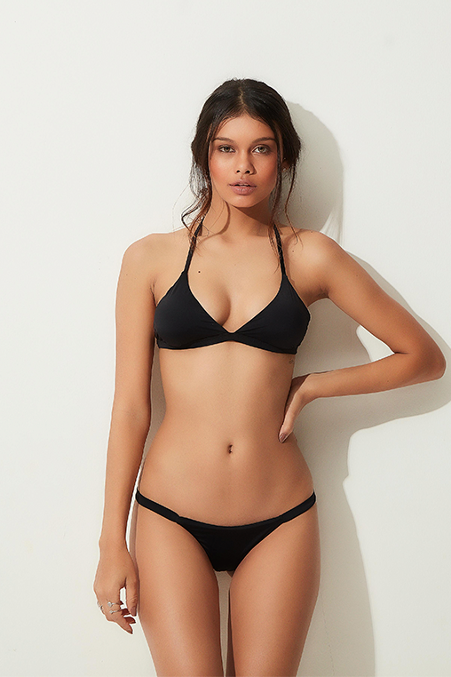 búzios bikini black lille beachwear biodegradable sustainable lookbook front