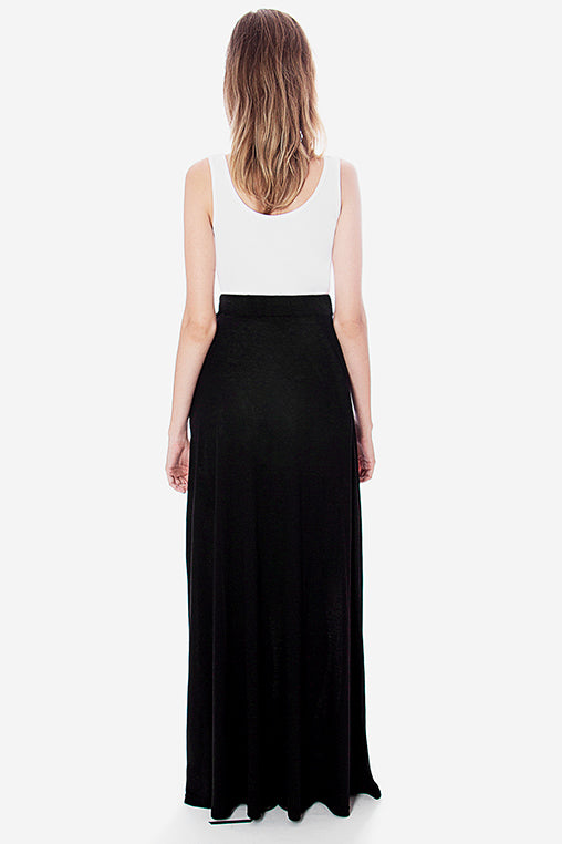 line skirt black movin long linen viscose bamboo sustainable back