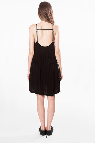 sun dress movin bamboo viscose black sustainable back