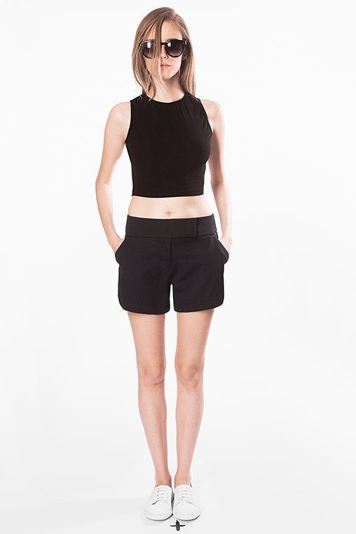 cropped Mary top black movin basic sustainable
