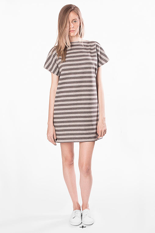 prime dress movin cotton striped beige short sleeve