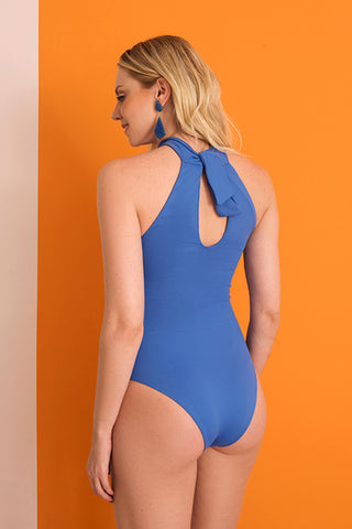 goa bathing suit blue lille beachwear sustainable biodegradable back