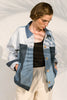 reconstructed jeans jacket blue upcycled envido cotton sustainable front