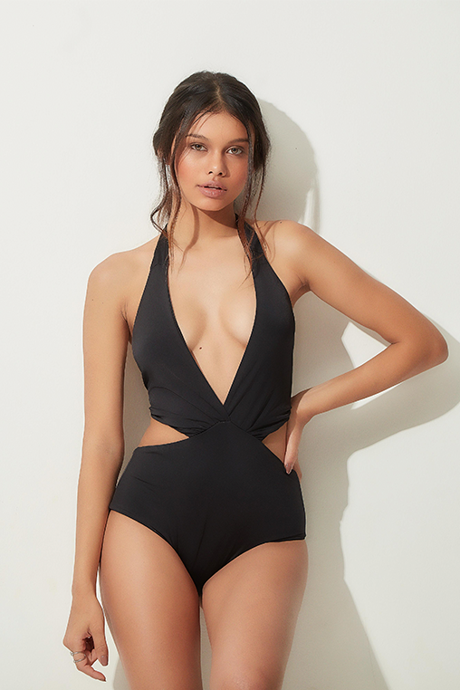 bodysuit black v neck cutout lille beachwear fauna sustainable lookbook