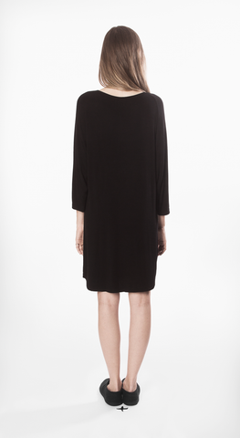 mixte dress black movin long sleeve short sustainable bamboo back