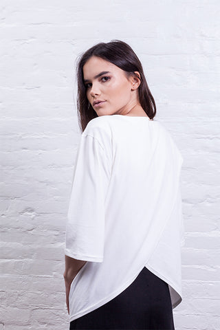 cross back shirt off white mudha sustainable cotton back