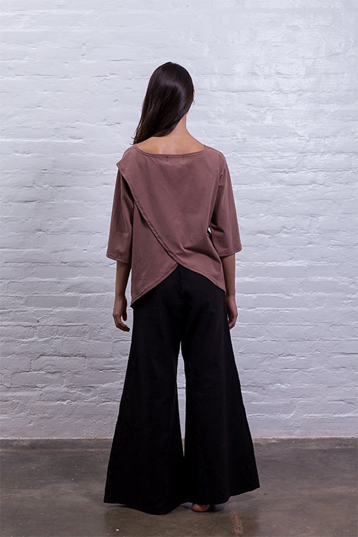 cross back shirt brown mudha sustainable cotton back