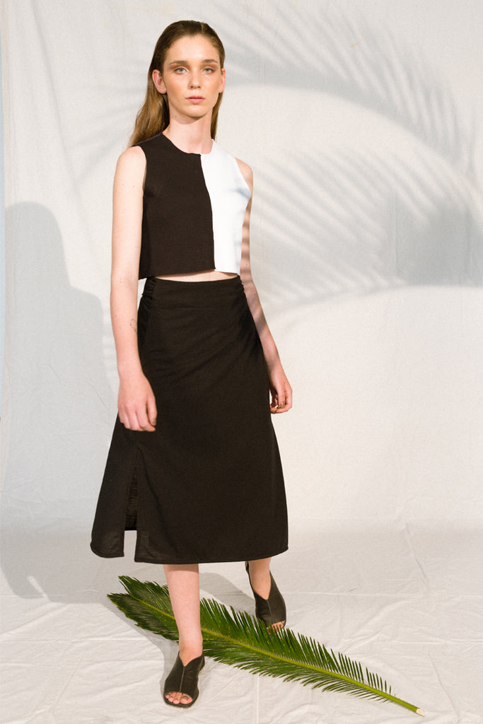 65e8208fe3 ... high waist jersey skirt black envido upcycled sustainable ...