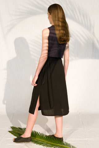 high waist jersey skirt black envido upcycled sustainable back