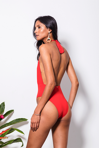 red bathing suit emi beachwear 2 in 1 sustainable biodegradable back
