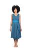 jabu blue dress shwe patterned cotton sustainable front