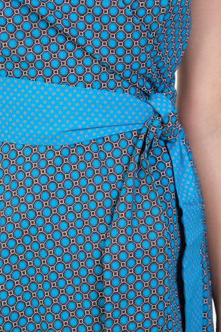 jabu blue dress shwe patterned cotton sustainable detail