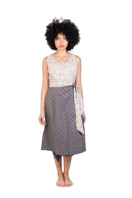 jabu beige black dress shwe patterned cotton sustainable