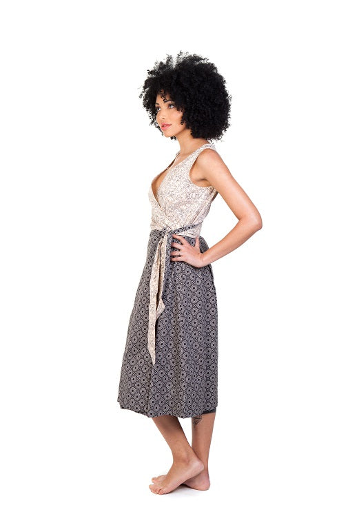 jabu beige black dress shwe patterned cotton sustainable side