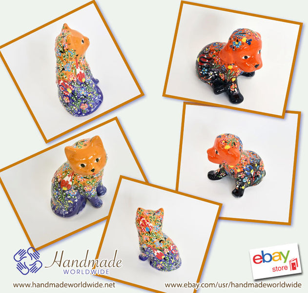 Handmade Handcraft Handpainted Ceramic Dog & Cat Figurines Trinkets Ornaments