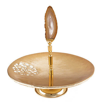 Round Plate Serving Stand Gold with NaturalStone Agate
