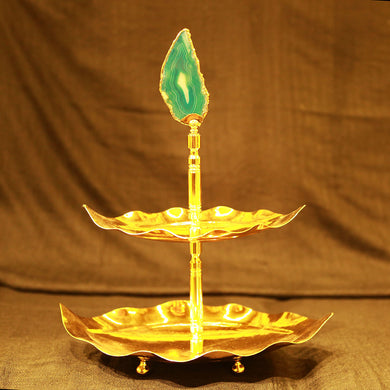 Leaf Model Two-Tiered Gold Serving Stand