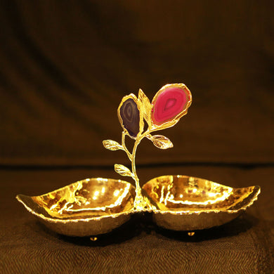 Leaf Model Tray Two Leaf Gold with NaturalStone Agate