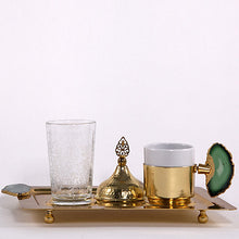 Coffee Cup Set Gold with Agate Green