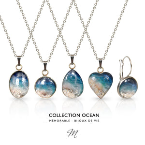Button Earrings - Ocean