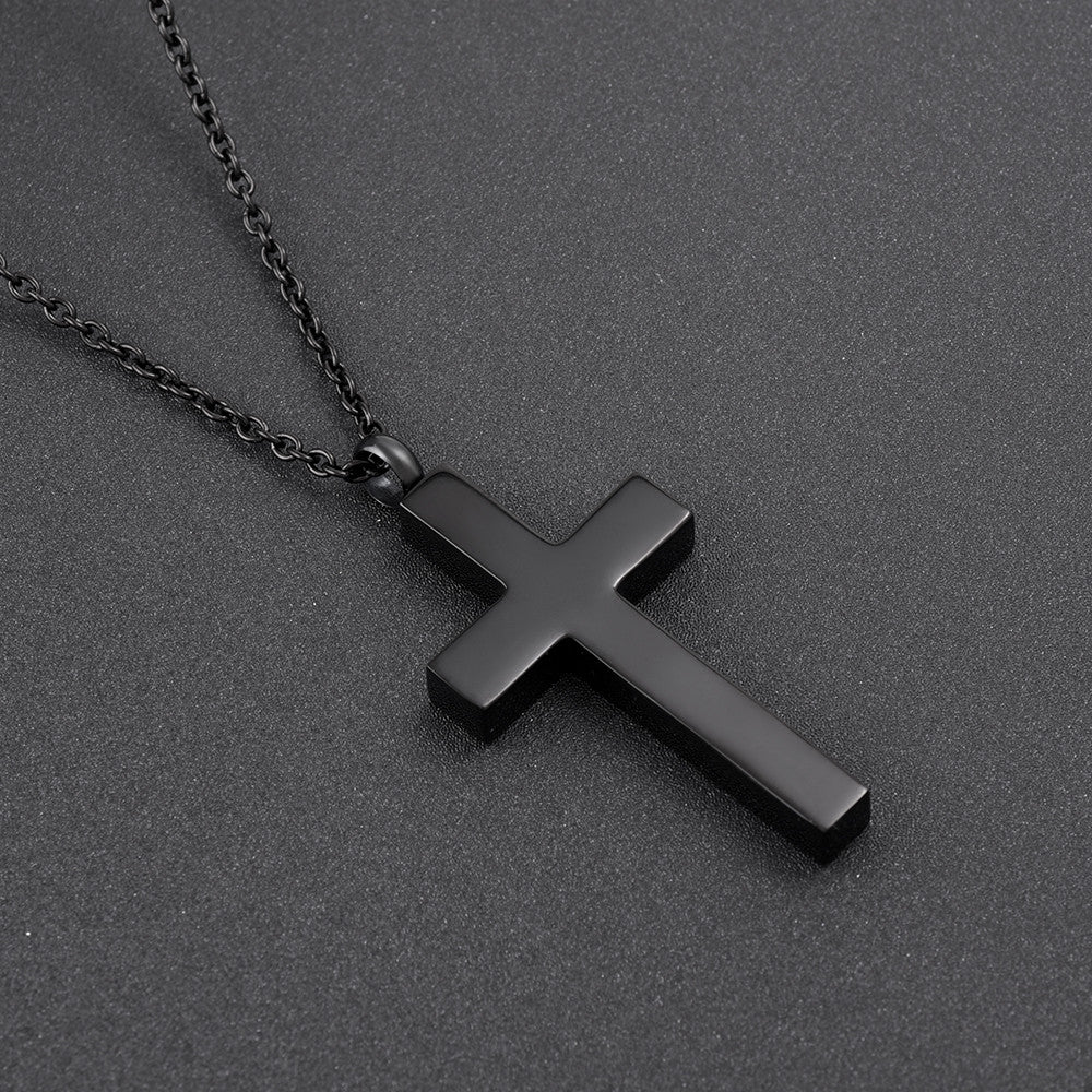Black Cross with Heart in Zircon