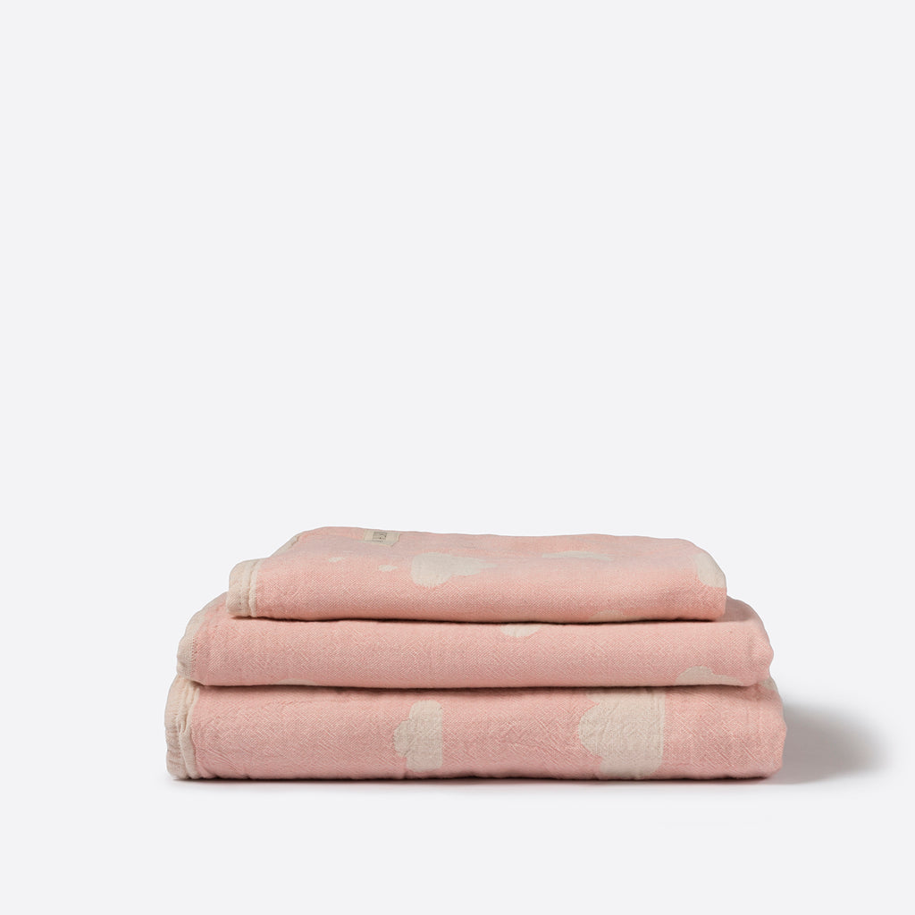 North Star Baby Pink Clouds Blanket Cotton Organic Throw Cot Bassinet