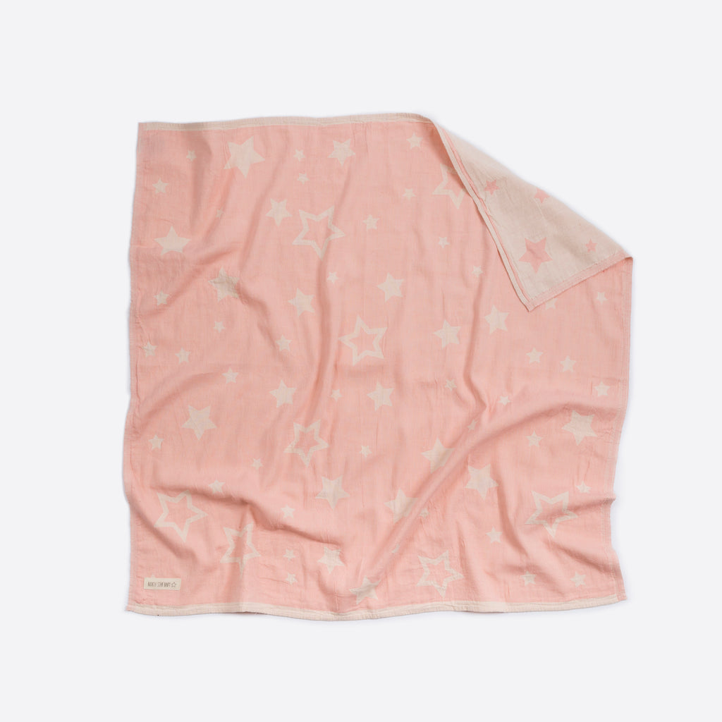 North Star Baby Pink Stars Blanket Cotton Organic Throw Cot Bassinet