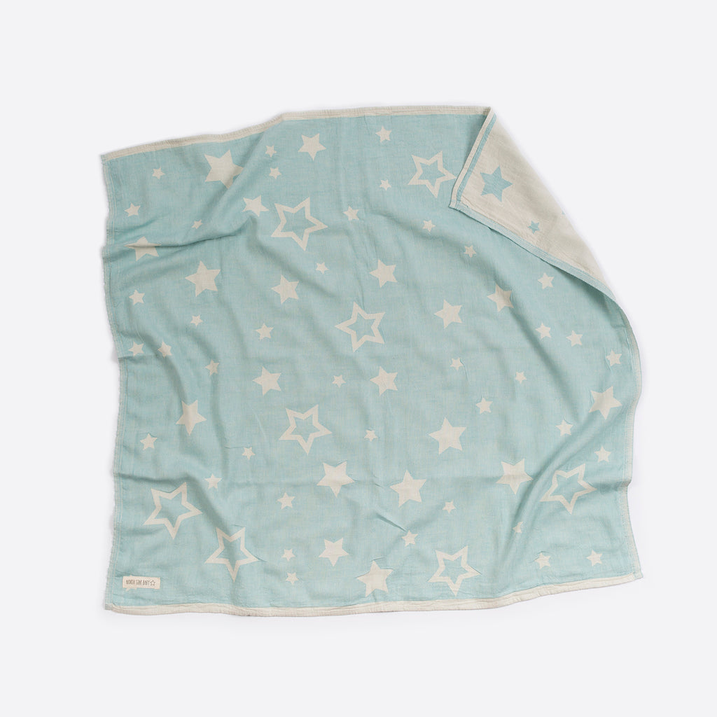 North Star Baby Mint Stars Blanket Classic Cotton Organic Throw Cot Bassinet
