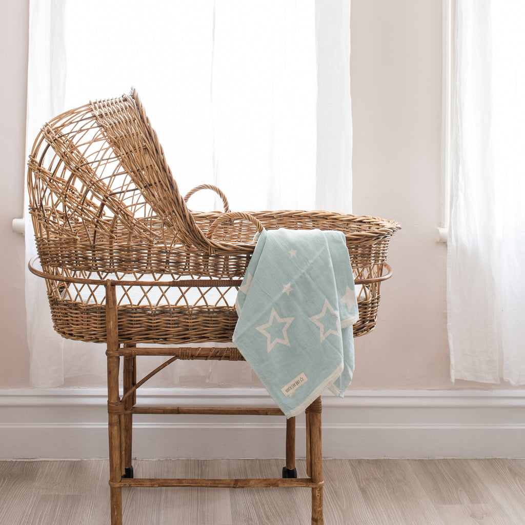 North Star Baby Mint Stars Blanket Classic Cotton Organic Bassinet