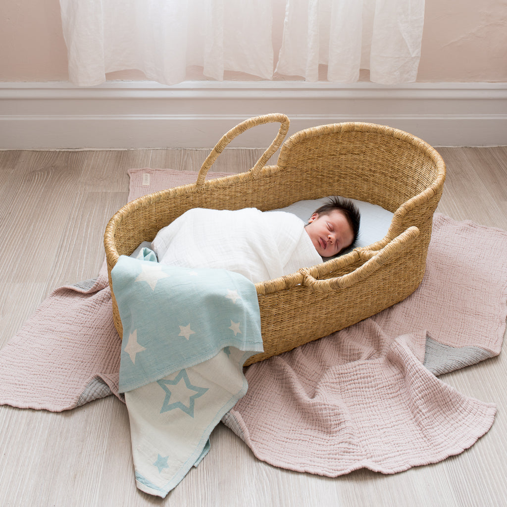North Star Baby Mint Stars Blanket Cotton Organic Throw Cot Bassinet Moses Basket