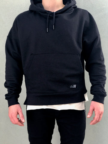 Black Oversized Hoodie - Drop Shoulder