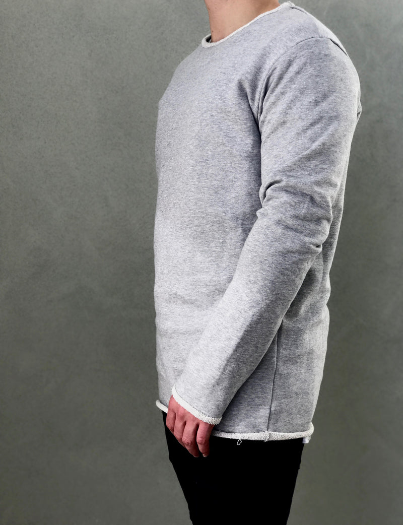 Grey Crew Jumper - Raw Hem