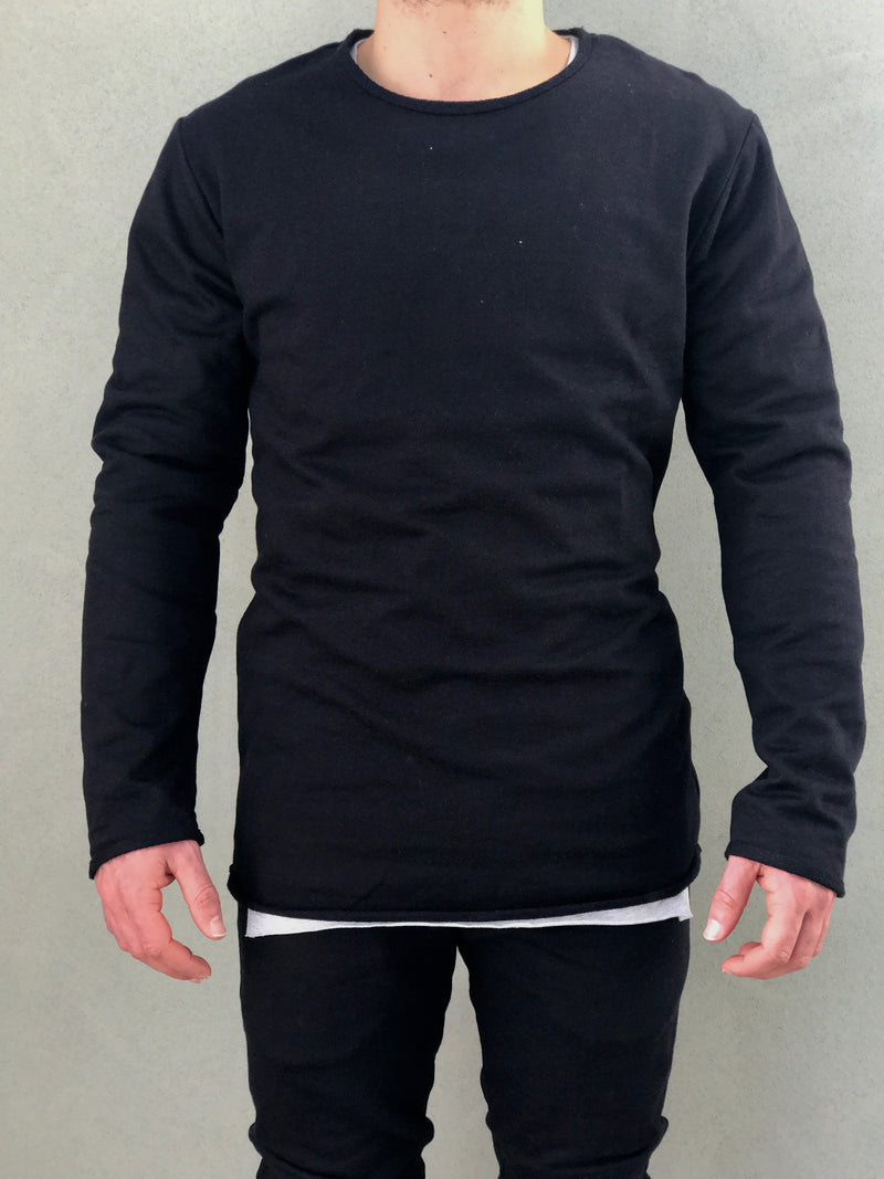 Black Crew Jumper - Raw Hem