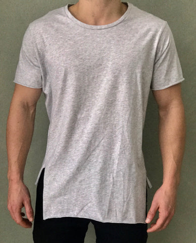 Grey T-Shirt - Raw Hem
