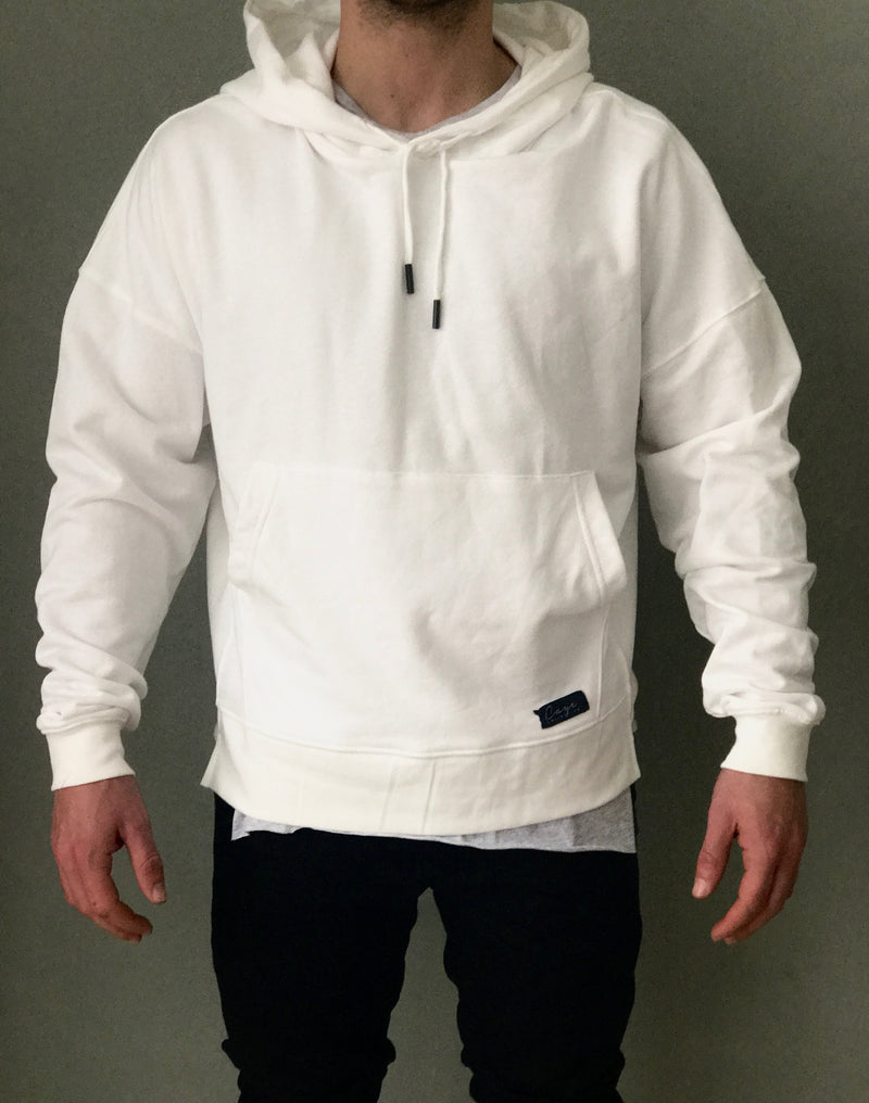 White Oversized Hoodie - Drop Shoulder